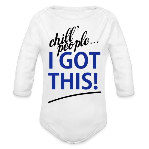 Boys White I Got This   - Organic Long Sleeve Baby Bodysuit