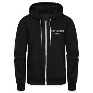 AUF Logo (Back) - Front LEFT text box  - Unisex Fleece Zip Hoodie by American Apparel