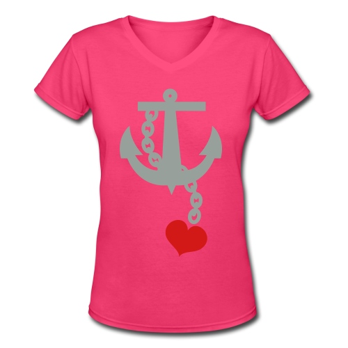 Anchor with Heart - Women's V-Neck T-Shirt