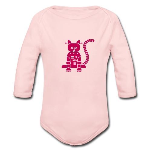 Catbot - Pink - Organic Long Sleeve Baby Bodysuit