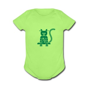 Catbot - Green - Short Sleeve Baby Bodysuit