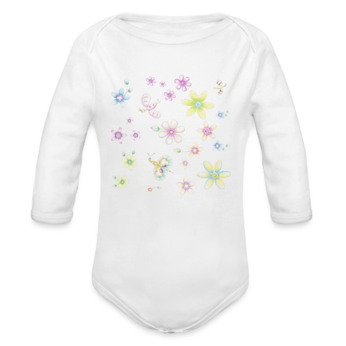 flowers and butterflies - Organic Long Sleeve Baby Bodysuit