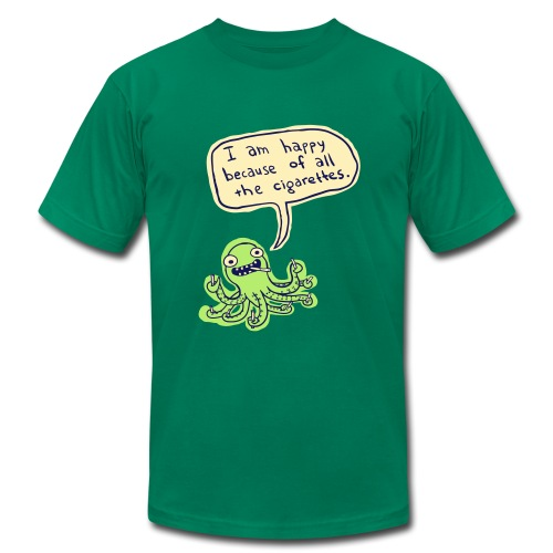 Ozzie the Chain-smoking Octopus - Men's T-Shirt by American Apparel