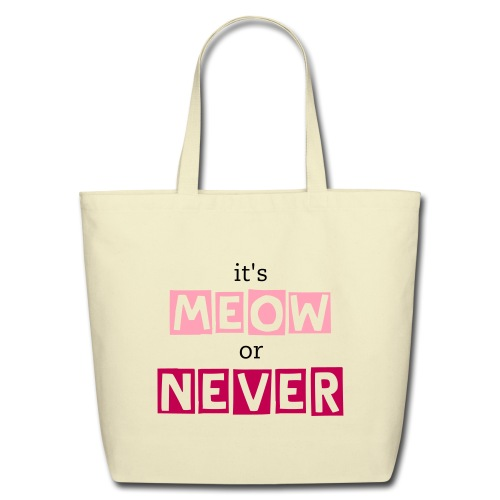 it's meow or never tote -- natural/pink - Eco-Friendly Cotton Tote