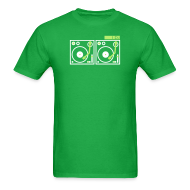 T-Shirts ~ Men's T-Shirt ~ I DJ - with 2 Vinyl Turntables - 2 color flex