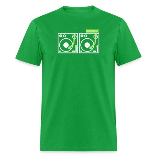 I DJ - with 2 Vinyl Turntables - 2 color flex - Men's T-Shirt