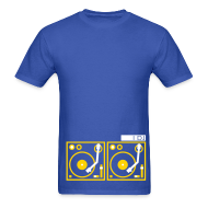 T-Shirts ~ Men's T-Shirt ~ I DJ - with 2 Turntables - flex print, 2 colors