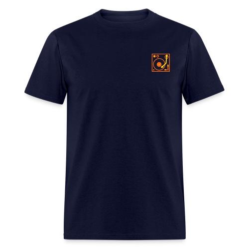 I DJ - classic Small Turntable Logo on the left, 2 color flex - Men's T-Shirt