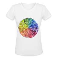 Women's T-Shirts ~ Women's V-Neck T-Shirt ~ color wheel doodle