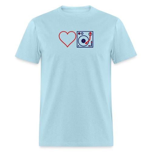 I DJ - Love DJ - Heart DJ - 2 color flex pring - Men's T-Shirt