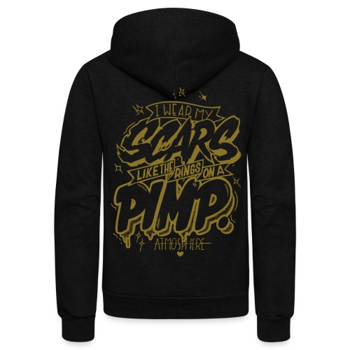 I Wear My Scars Hoody (blag/gold) - Unisex Fleece Zip Hoodie