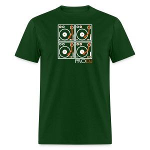I DJ - 4 Turntable - PRO DJ - 2 color FLOCK print - Men's T-Shirt