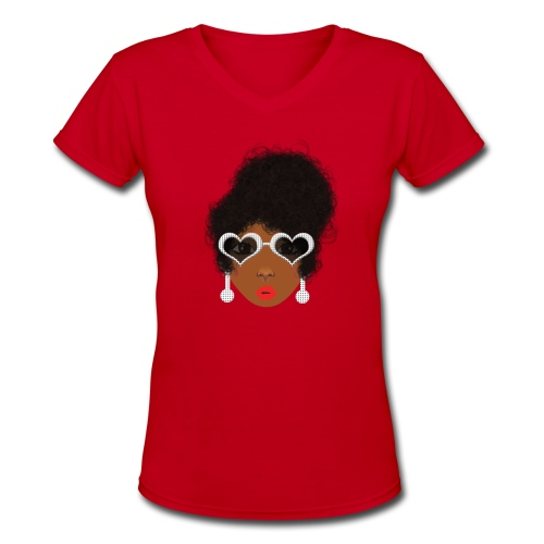 Faye Blue V-Neck - Women's V-Neck T-Shirt