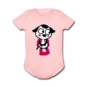 Puppy with school bag short sleeve One Piece - Short Sleeve Baby Bodysuit
