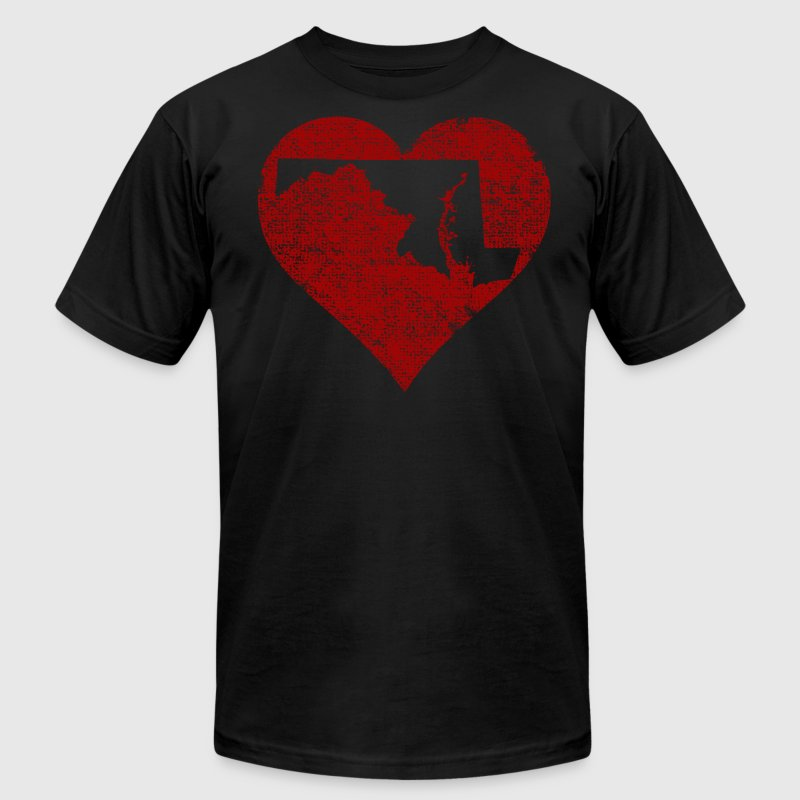 Maryland Heart T-Shirts - Men's T-Shirt by American Apparel