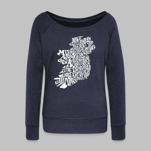 County WOrd Map Women's Wide Neck Sweatshirt - Women's Wideneck Sweatshirt