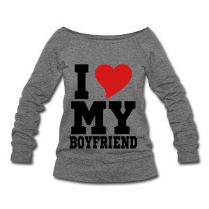 i Love My Boyfriend Long Sleeve Shirts - Women's Wideneck Sweatshirt