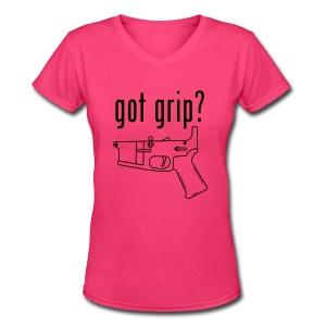 got grip? Girl's V-Neck - Women's V-Neck T-Shirt
