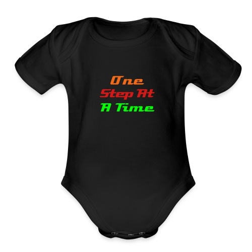 'One Step at A time' - Organic Short Sleeve Baby Bodysuit