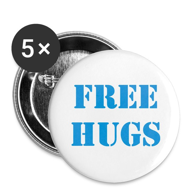 """""""FREE HUGS"""" Large Button 5-Pack"""