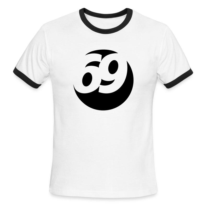 69 (Black) Men's Ringer T-Shirt by American Apparel - Men's Ringer T-Shirt