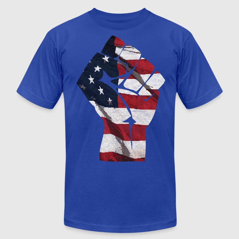 American Flag Fist T-Shirts - Men's T-Shirt by American Apparel
