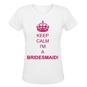 Women's V-Neck T-Shirt - Show off your excitement for the blushing bride with this shirt! Bride -to-be this serves as a great gift for your bridesmaids! Purchase yours today.