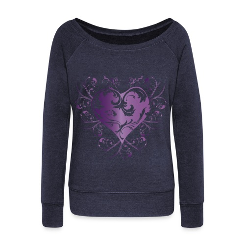 sweat shirt- hearts - Women's Wideneck Sweatshirt