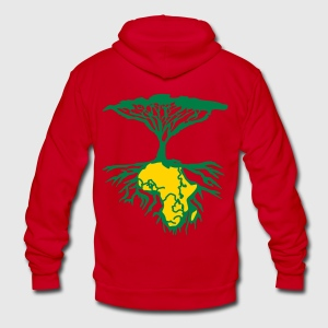 African Roots 2colour - Unisex Fleece Zip Hoodie b - Unisex Fleece Zip Hoodie by American Apparel