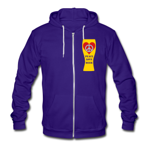 Peace Love Beer Unisex Fleece Zip Hoodie (Double Sided) - Unisex Fleece Zip Hoodie by American Apparel