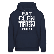 Hoodies ~ Men's Hoodie ~ Men's 'EAT CLEN/TREN HARD' Hoodie - White Text