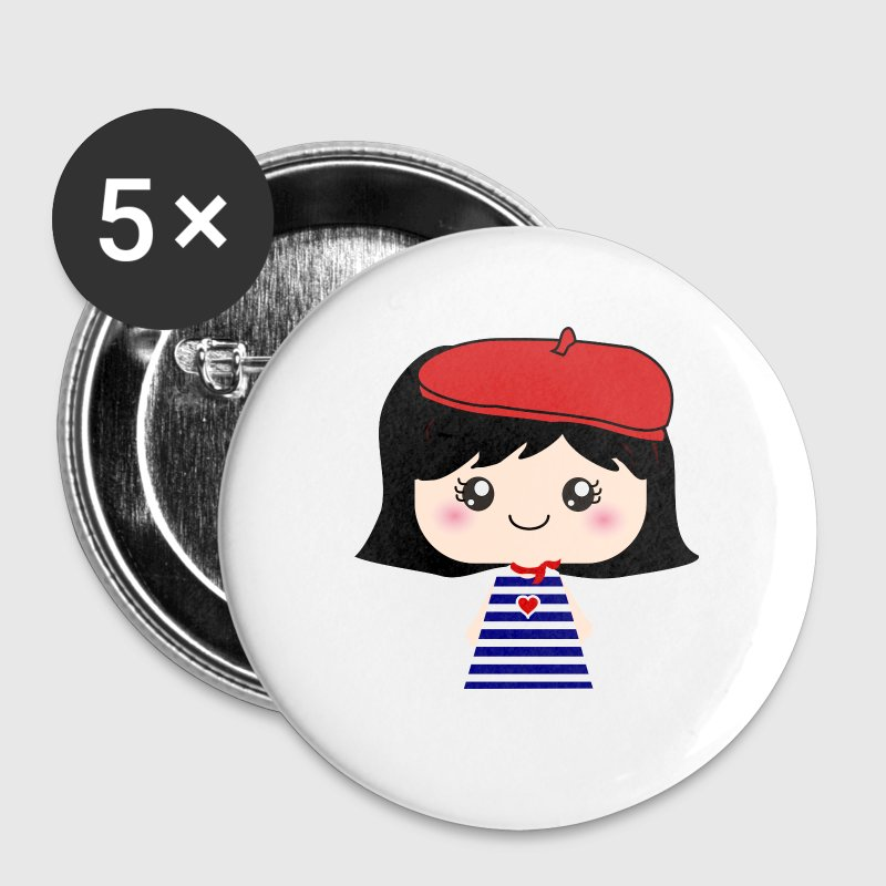 Cute French Girl Cartoon - Large Buttons