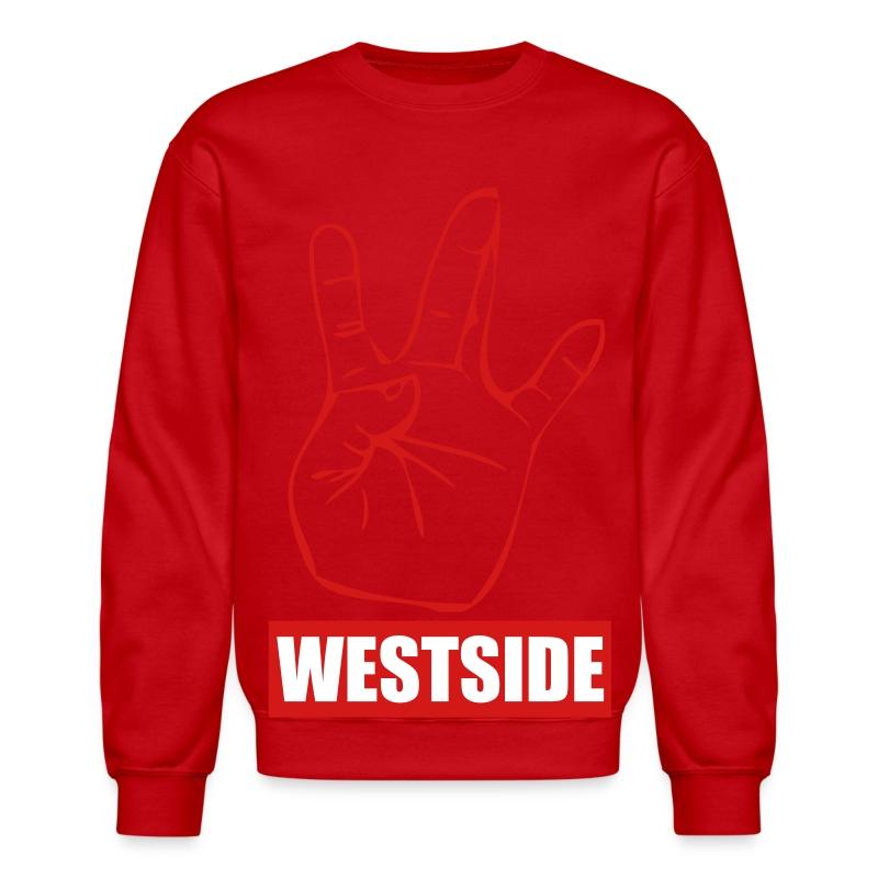 Grey/Red WestSide Crewneck Sweatshirt   Visionary Dame Clothing