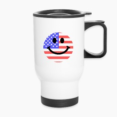 American flag smiley face Bottles & Mugs