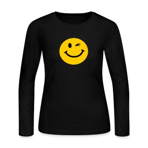 Winking Smiley face Long Sleeve Shirts - Women's Long Sleeve Jersey T-Shirt