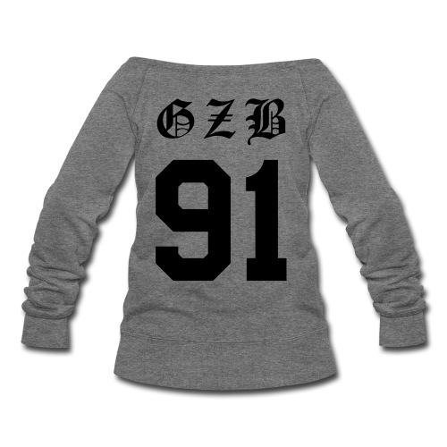 GZB CL Face (Black) -Double Sided - Women's Wideneck Sweatshirt