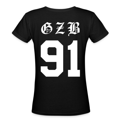 GZB CL Face (White) -Double Sided - Women's V-Neck T-Shirt