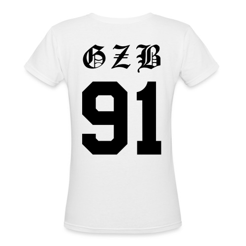 GZB CL Face (Black) -Double Sided - Women's V-Neck T-Shirt
