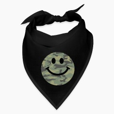 Army green camo Smiley face Caps