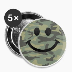 Army green camo Smiley face Buttons