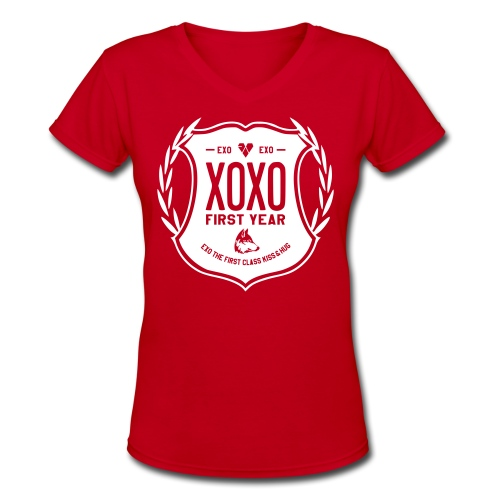 XOXO First Year-Double Sided - Women's V-Neck T-Shirt