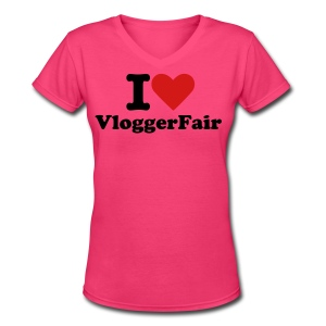 I love VloggerFair - Women's V-Neck T-Shirt