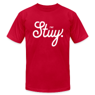 "T-Shirts ~ Men's T-Shirt by American Apparel ~ Mens ""The New Stuy"" Logo Tee Red"