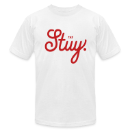 "T-Shirts ~ Men's T-Shirt by American Apparel ~ Mens ""The New Stuy"" Logo Tee White"