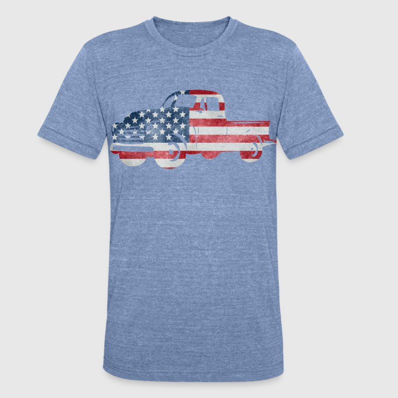 USA Flag American Truck T-Shirts - Unisex Tri-Blend T-Shirt by American Apparel