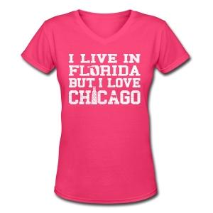 Live Florida Love Chicago - Women's V-Neck T-Shirt