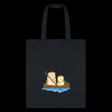 cute hedgehog couple on boat Bags & backpacks