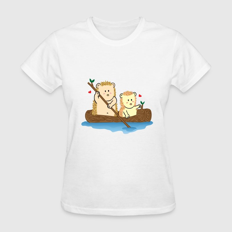 cute hedgehog couple on boat Women's T-Shirts - Women's T-Shirt