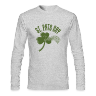 Long Sleeve Shirts ~ Men's Long Sleeve T-Shirt by American Apparel ~ Puking Shamrock (white)