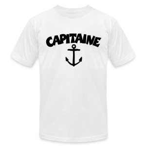 Capitaine t-shirt with anchor (White/Front) - Men's T-Shirt by American Apparel